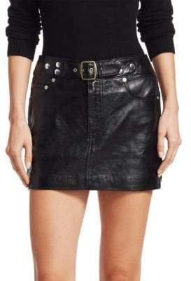 RE/DONE The Leather Buckle Mini Skirt