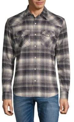 Magnified Plaid Button-Down Shirt