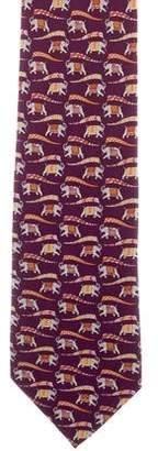 Salvatore Ferragamo Silk Elephant Parade Print Tie