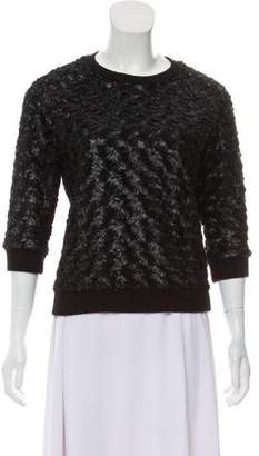 L'Agence Textured Three-Quarter Sleeve Sweater