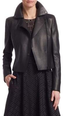 Akris Punto Perforated Leather& Jersey Jacket