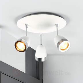 Runde, dreiflammige Deckenlampe Levie, GU10