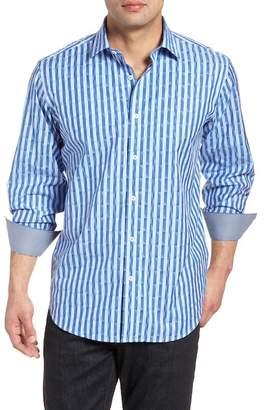 Bugatchi Candy Stripe Geometric Classic Fit Sport Shirt