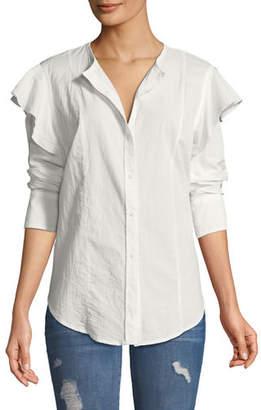 Current/Elliott The Asley Poplin Ruffle Shirt