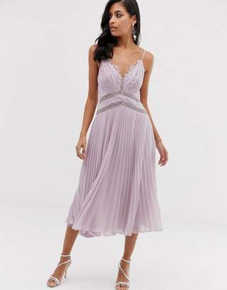 Asos Design DESIGN midi dress with lace bodice and delicate lace trim details