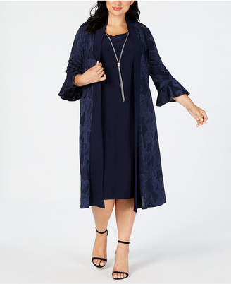 R & M Richards Plus Size Necklace Dress & Printed Bell-Sleeve Duster Jacket