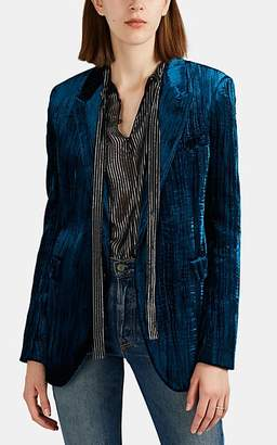 Saint Laurent Women's Textured Velvet Blazer - Blue