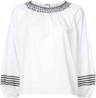 Joie embroidered puff sleeve blouse