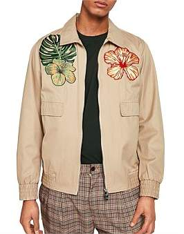 Scotch & Soda Seasonal Short Jacket With Floral Embroidery