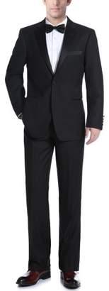 Renoir Men's Black Slim Fit Two Piece Notch Collar Tuxedo With Ribbon Finish