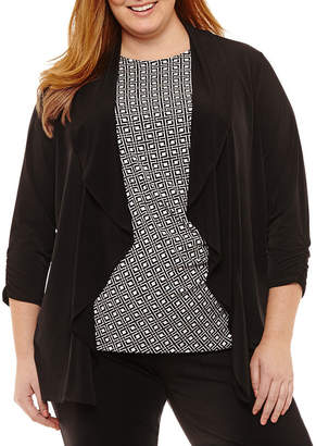 Liz Claiborne 3/4 Sleeve Drape Cardigan- Plus