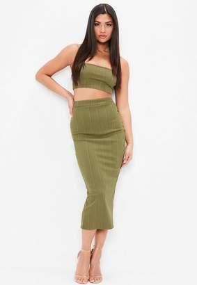 Missguided Khaki Bandage Maxi Skirt