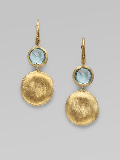 Marco Bicego Blue Topaz & 18K Yellow Gold Drop Earrings