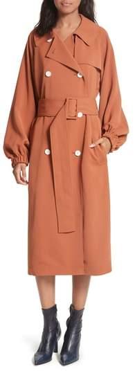 Draped Twill Trench Coat