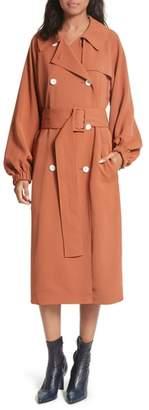 Tibi Draped Twill Trench Coat