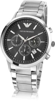 Emporio Armani Men's Black Dial Stainless Steel Chrono Watch