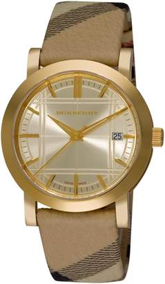 Burberry Women's BU1398 Check Engraved Dial Check Strap Watch