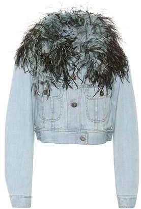 Prada Feather-trimmed denim jacket