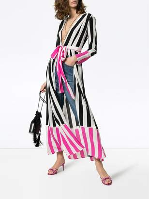 Leone We Are striped belted silk kimono jacket