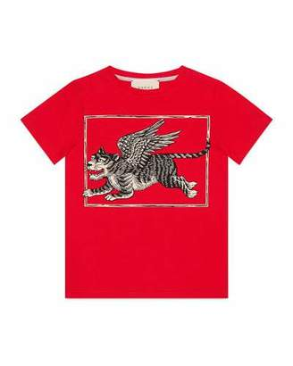 Gucci Winged Tiger Short-Sleeve Jersey T-Shirt, Size 4-12