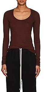 Rick Owens Women's Raw-Edge Long-Sleeve T-Shirt-Wine