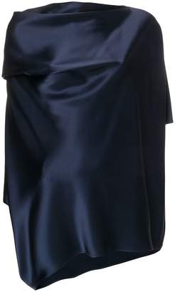 Gianluca Capannolo draped satin slash neck blouse
