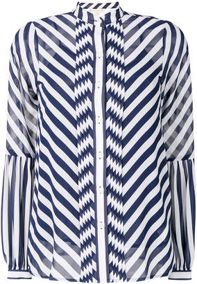MICHAEL Michael Kors striped band collar chiffon blouse