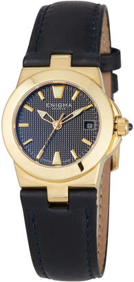 Bulgari Enigma By Gianni 26mm Date Watch w/ 18k Gold & Leather Strap