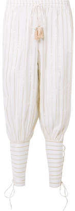Miguelina Tara Lace-up Striped Cotton And Lurex-blend Voile Pants - White