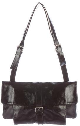 Miu MiuMiu Miu Canvas-Trimmed Patent Leather Bag
