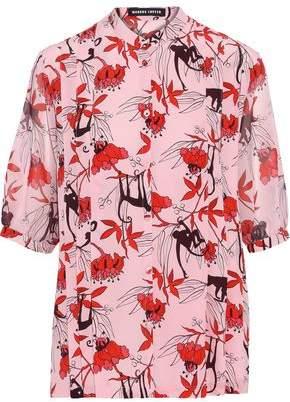 Markus Lupfer Hattie Pintucked Printed Silk Crepe De Chine Shirt