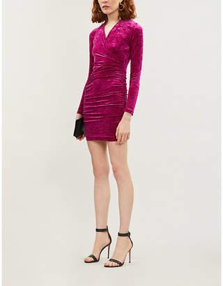 Maje Crushed velvet mini wrap dress