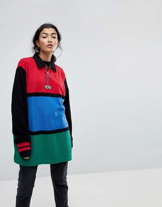 Lazy Oaf Oversized Rugby Shirt With Zip Neck In Colourblock