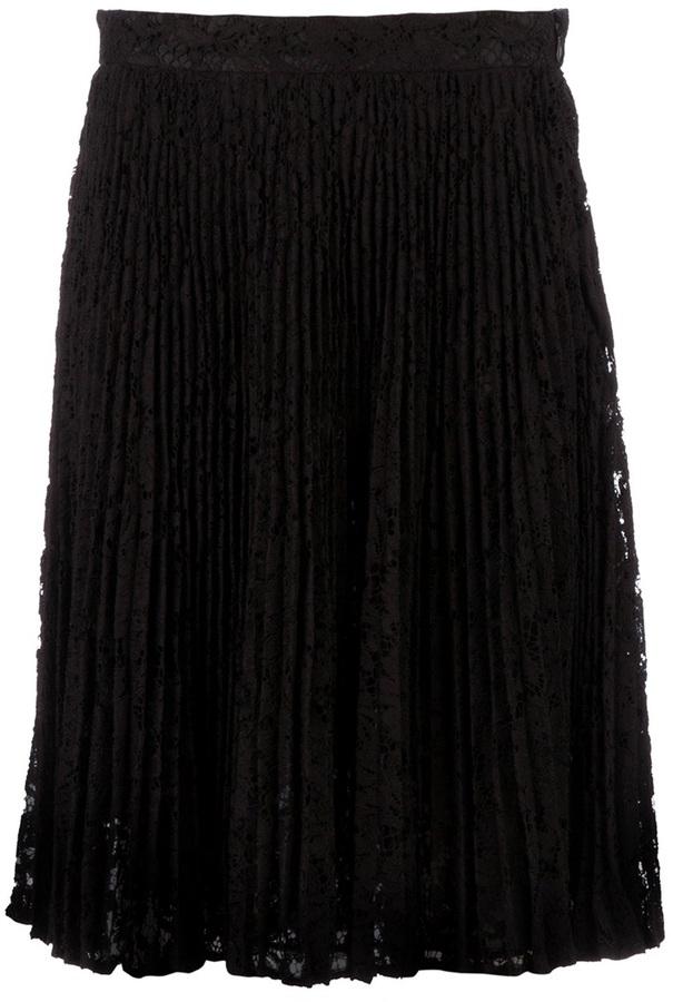 Valentino pleated macramé skirt