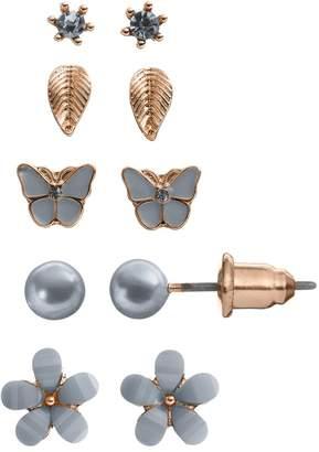 Lauren Conrad Flower, Leaf & Butterfly Stud Earring Set