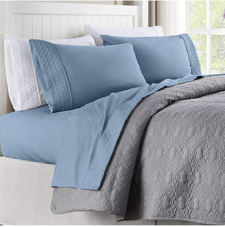 Cathay Home Inc. Quilted Hem Full Microfiber Sheet Set Bedding