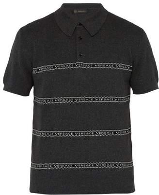 Versace Logo Intarsia Cotton Blend Polo Shirt - Mens - Grey