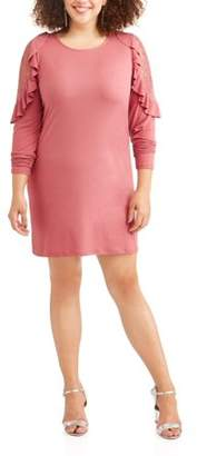 Moral Fiber Women's Plus Long Sleeve Lace Detail Ruffle Cold Shoulder Dress