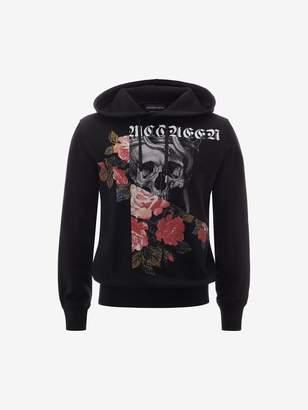 Alexander McQueen Patchwork Skull and Roses Hooded Sweatshirt
