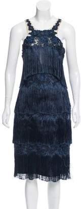 Marchesa Fringe Midi Dress w/ Tags