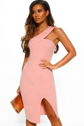 a4ca0bec1f805 Pink Boutique City Lights Pink One Shoulder Bodycon Midi Dress