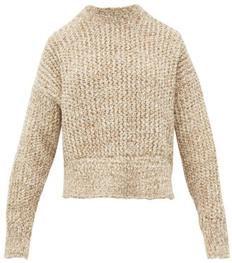 Jil Sander Cropped Wool Blend Sweater - Womens - Beige White