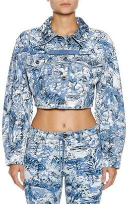 Off-White Tapestry Cropped Button-Front Jacket