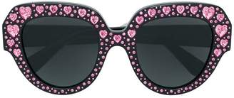 Gucci crystal heart embellished oversized sunglasses