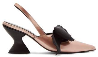 Marques Almeida Marques'almeida - Point Toe Metallic Leather Slingback Pumps - Womens - Pink