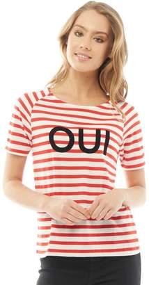 Jacqueline De Yong Womens Cloud Boatneck Striped T-Shirt High Risk Red/Cloud Dancer