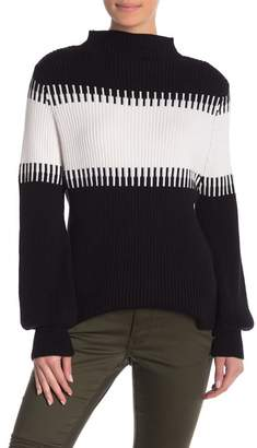 ABS by Allen Schwartz ESSENTIALS BY Colorblock Ribbed Knit Sweater