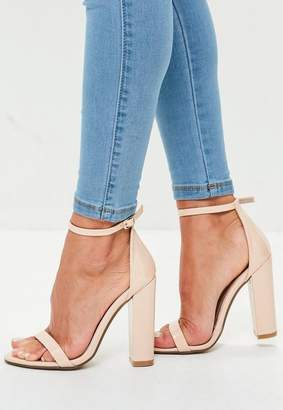 Missguided Nude Barely There Block Heels