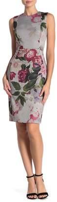 Modern American Designer Floral Sleeveless Sheath Dress
