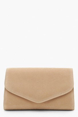boohoo Suedette Envelope Clutch And Chain